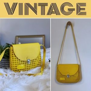 Vintage Yellow Jelly Crossbody Bag with Lining